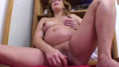 Knocked Up Blonde Fuck's Herself With A Rubber Toy